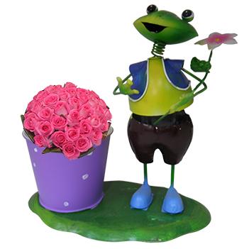 Boneco Sapo com Balde de Flor Para Decoraçao Jardim e Enfeite (BON-P-3)