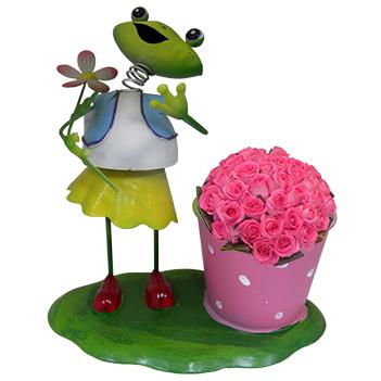 Boneco Sapo com Balde de Flor Para Enfeite e Decoraçao Jardim e Flores (BON-P-3)