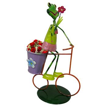 Boneco Sapo com Bicicleta Para Enfeite e Decoraçao Jardim e Flores (BON-M-14)