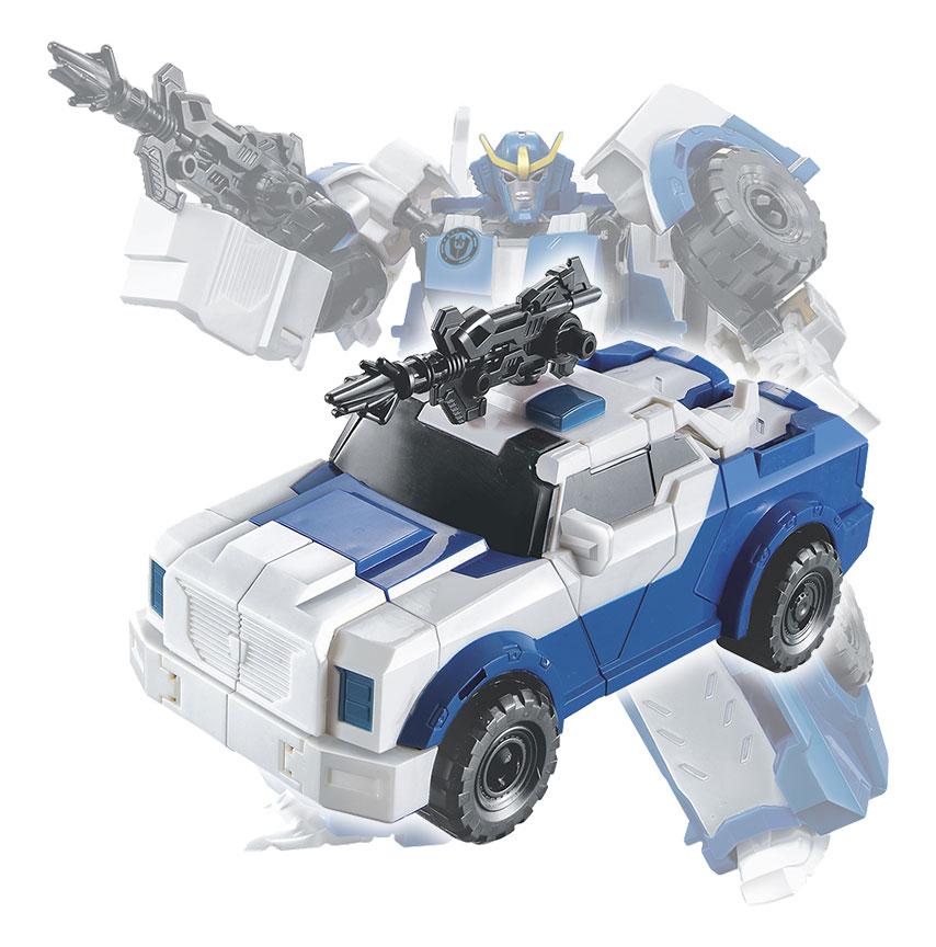 Boneco Transforme Robo Carro de Policia Brinquedo Articulado Azul (DMT4693)