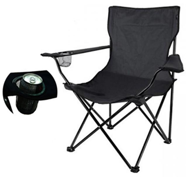 Cadeira Dobravel Braço Porta Copo Praia e Camping Pescaria Com Bolsa de Transporte Preto Kit 2 Unid (bsl-cad-1)