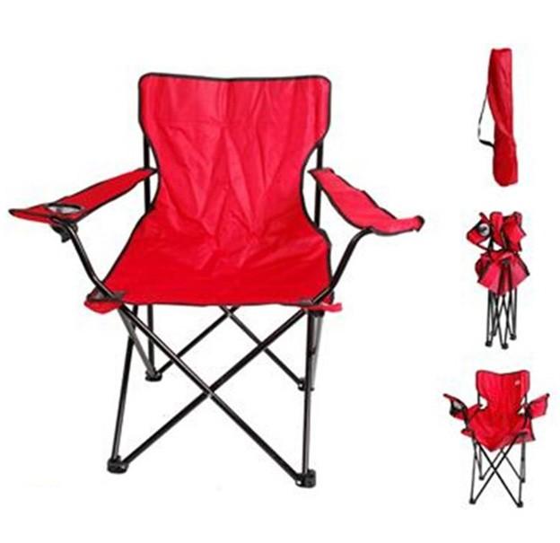 Cadeira Dobravel Braço Porta Copo Praia e Camping Pescaria Com Bolsa de Transporte Vermelho (bsl-cad-1)