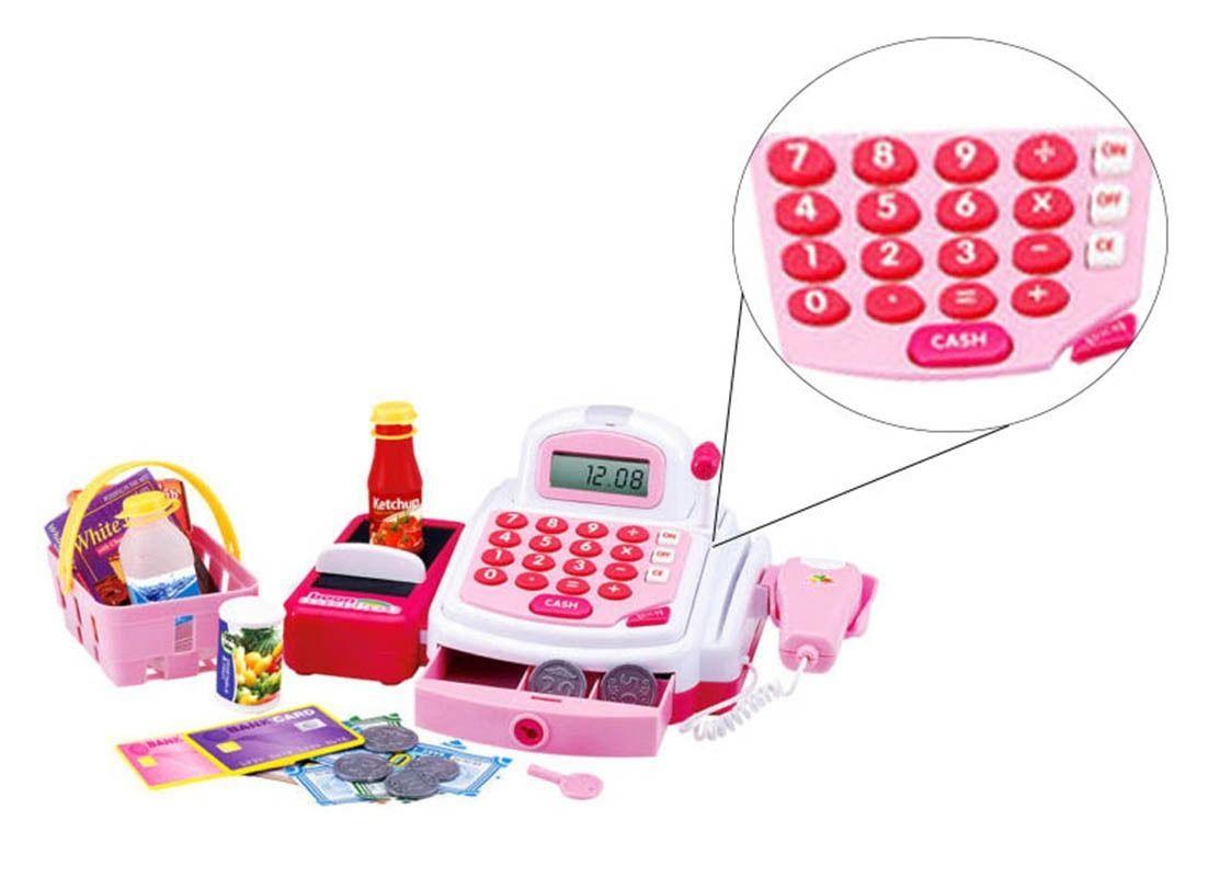 Caixa Registradora Som Luz Com Acessórios Rosa Infantil (DMT3815)