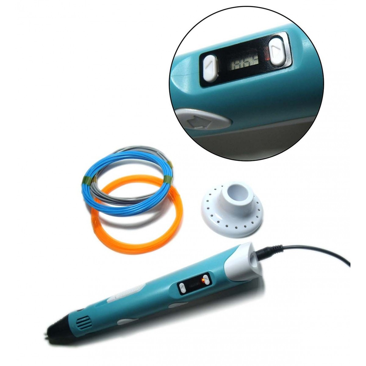 Caneta Impressora 3d Desenho Pen Filamento Pla Bivolt Escultura Cor Azul (BSL-HEL-1)