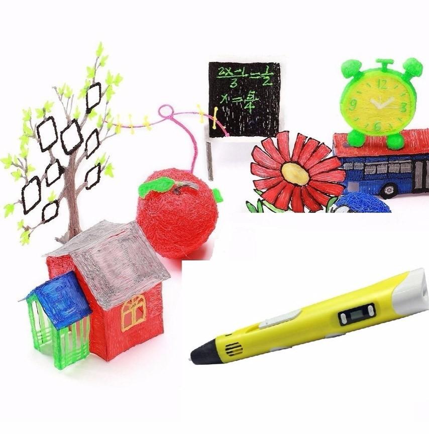 Caneta Impressora Pen 3d Desenho Display LCD Temperatura Bivolt Amarelo (BSL-HEL-1 / Amarelo)