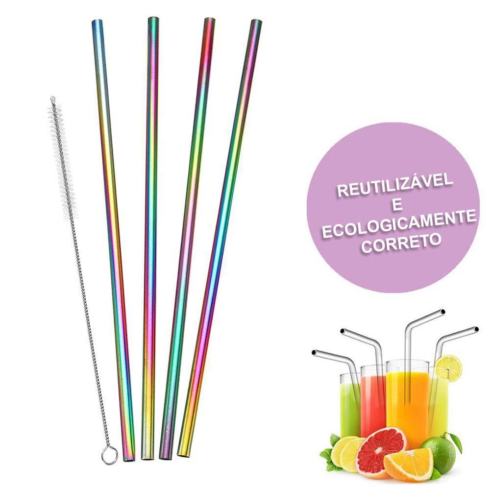 Canudo Aço Inox Reutilizavel Kit com 4 Reto Multicolorido Eco Limpador