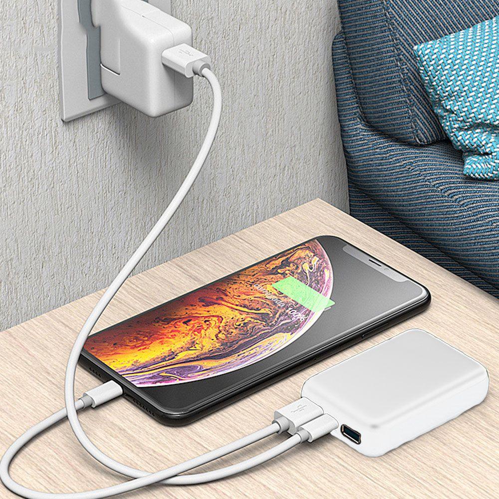 Carregador Portatil 10000 mah Celular  Micro USB Tipo C Usb Bateria Branco