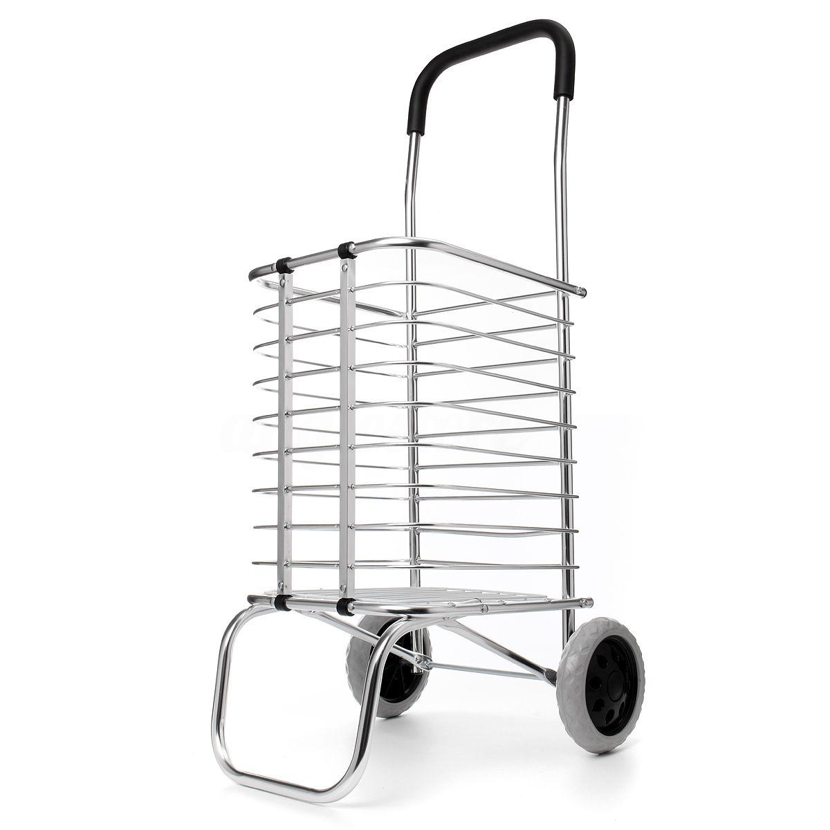 Carrinho de Compras Dobravel Aluminio Feira 2 Rodas Portatil