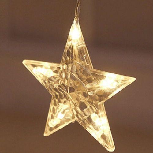 Cascata Natal Pisca Pisca Lua Estrela Led Natalino Branco Quente 110v 8 Funcoes