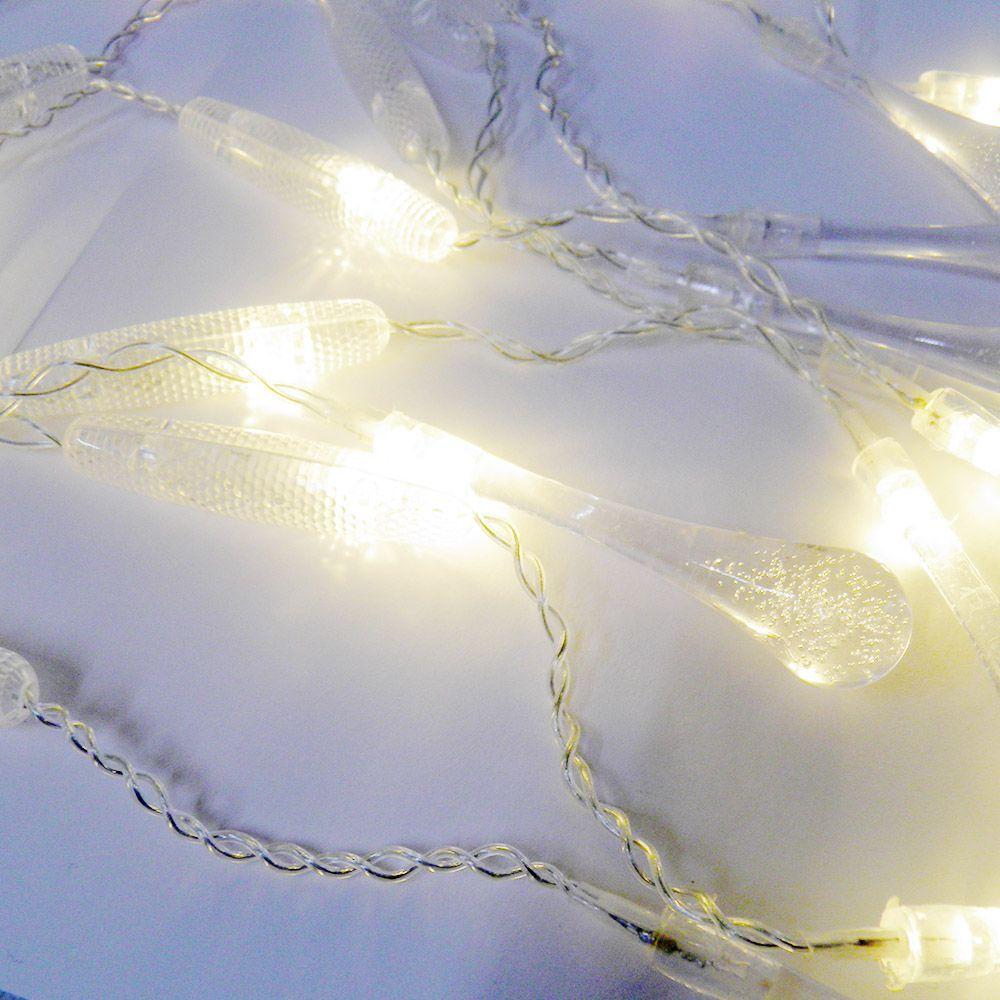 Cascata Pisca Pisca Gota Orvalho Natal 138 LED Natalino 8 Funcoes Branco Quente