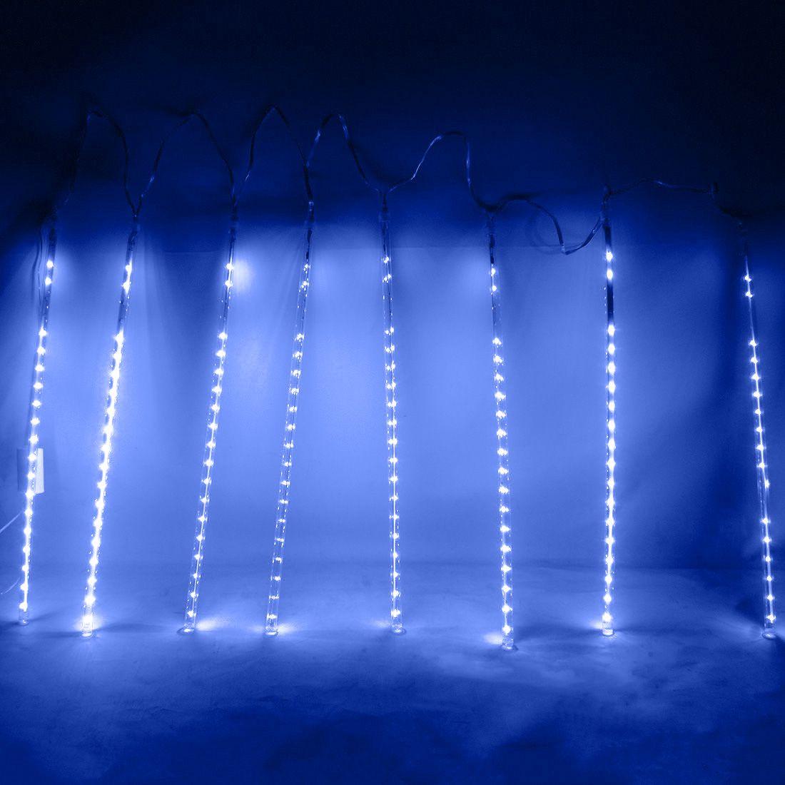 Cascata Pisca Pisca Natal Chuva de Neve 8 Tubos Azul 320 Leds