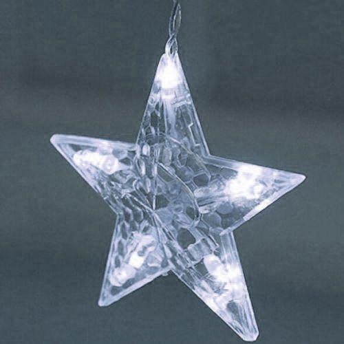 Cascata Pisca Pisca Natal Lua Estrela 138 Led Natalino 8 Funcoes Branco