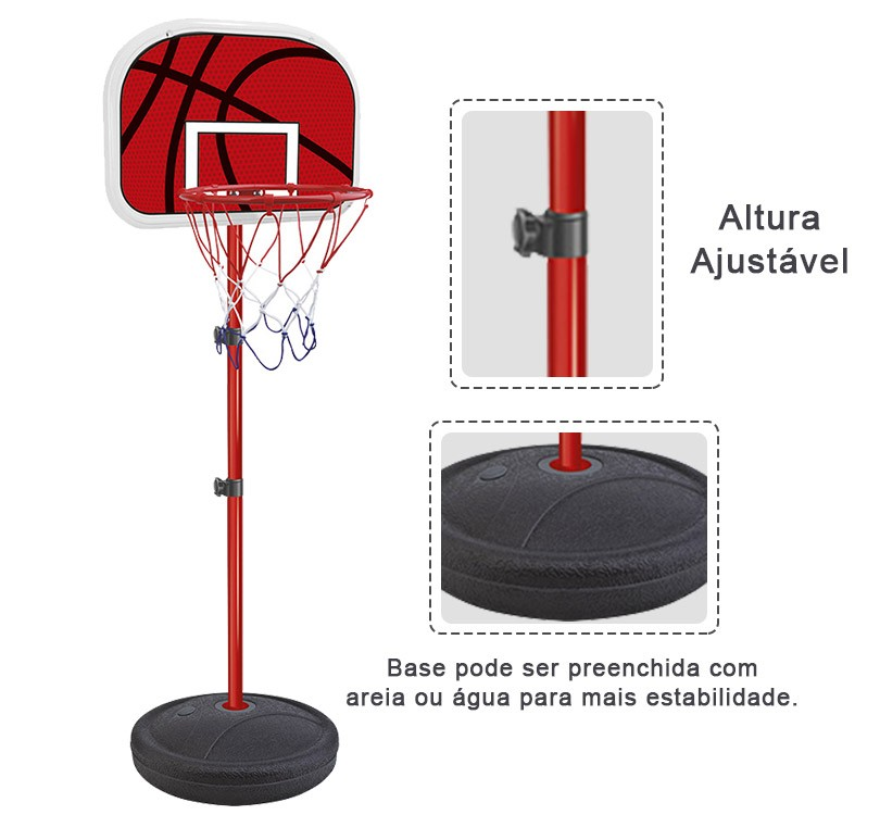 Cesta De Basquete Kit Tabela Ajustavel Bola Bomba e Rede (DMT5091)