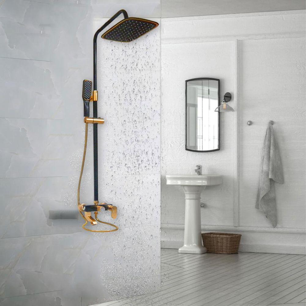 Chuveiro Monocomando Luxo Aço Inox Quente e Frio Dourado Banheiro Chuveirinho