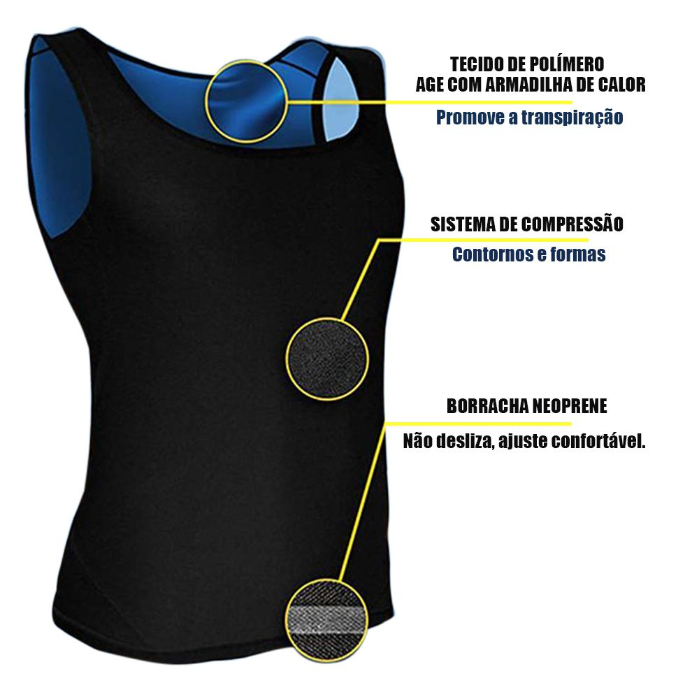Cinta Camiseta Termica Queima Gordura Perde Peso Masculina  Emagrecer Suor Neoprene