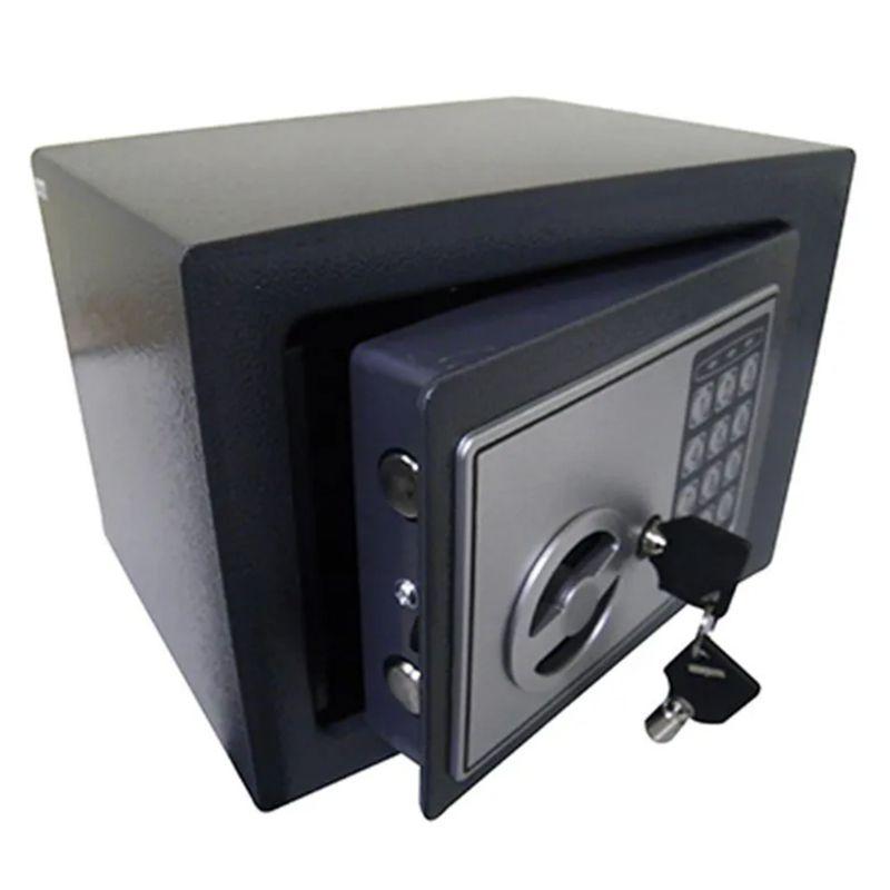 Cofre Eletronico Digital Teclado Numerico 2 Chaves Segredo Preto