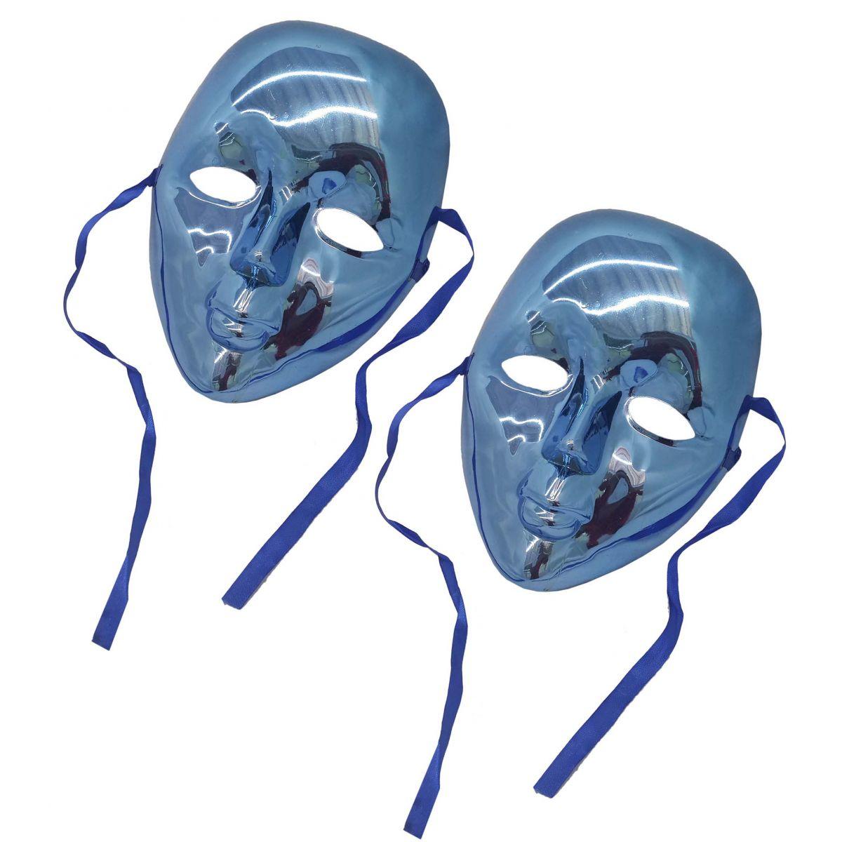 Conjunto 2 Mascaras Para Festa Baile Carnaval Halloween Fantasia Metalizada  Azul (BL-0258- 81eb052bd97