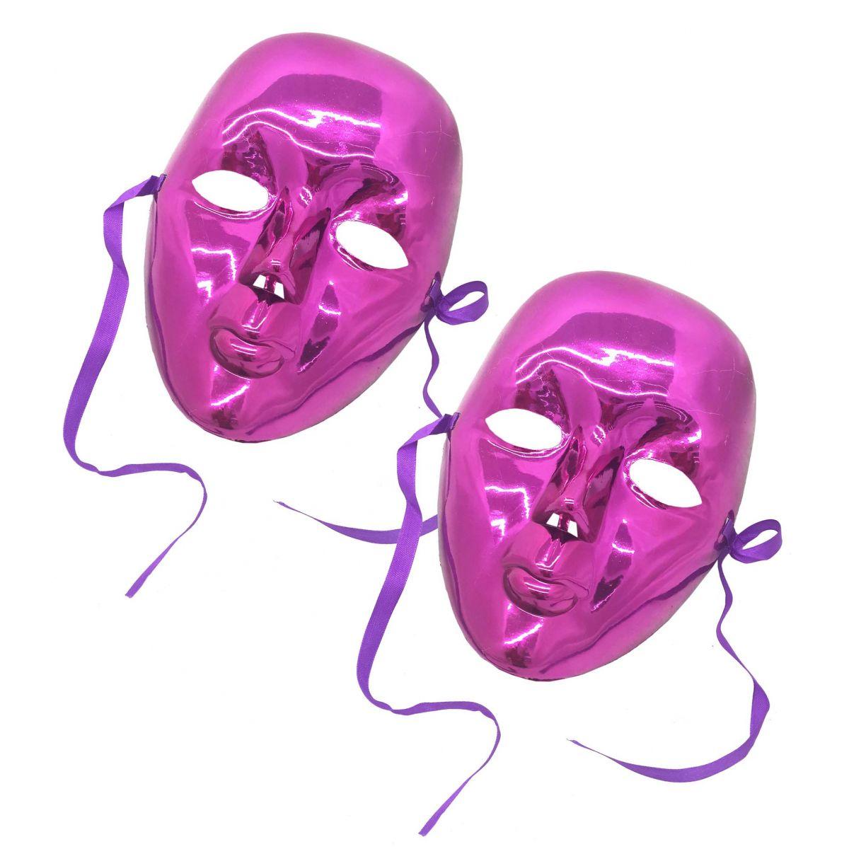 Conjunto 2 Mascaras Para Festa Baile Carnaval Halloween Fantasia Metalizada  Rosa (BL-0258- 4974d10f05b