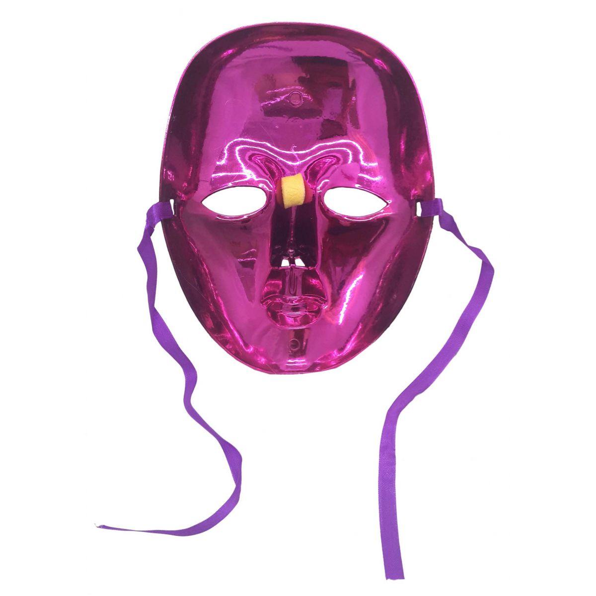 ... Conjunto 2 Mascaras Para Festa Baile Carnaval Halloween Fantasia  Metalizada Rosa (BL-0258- 79b0cb58156