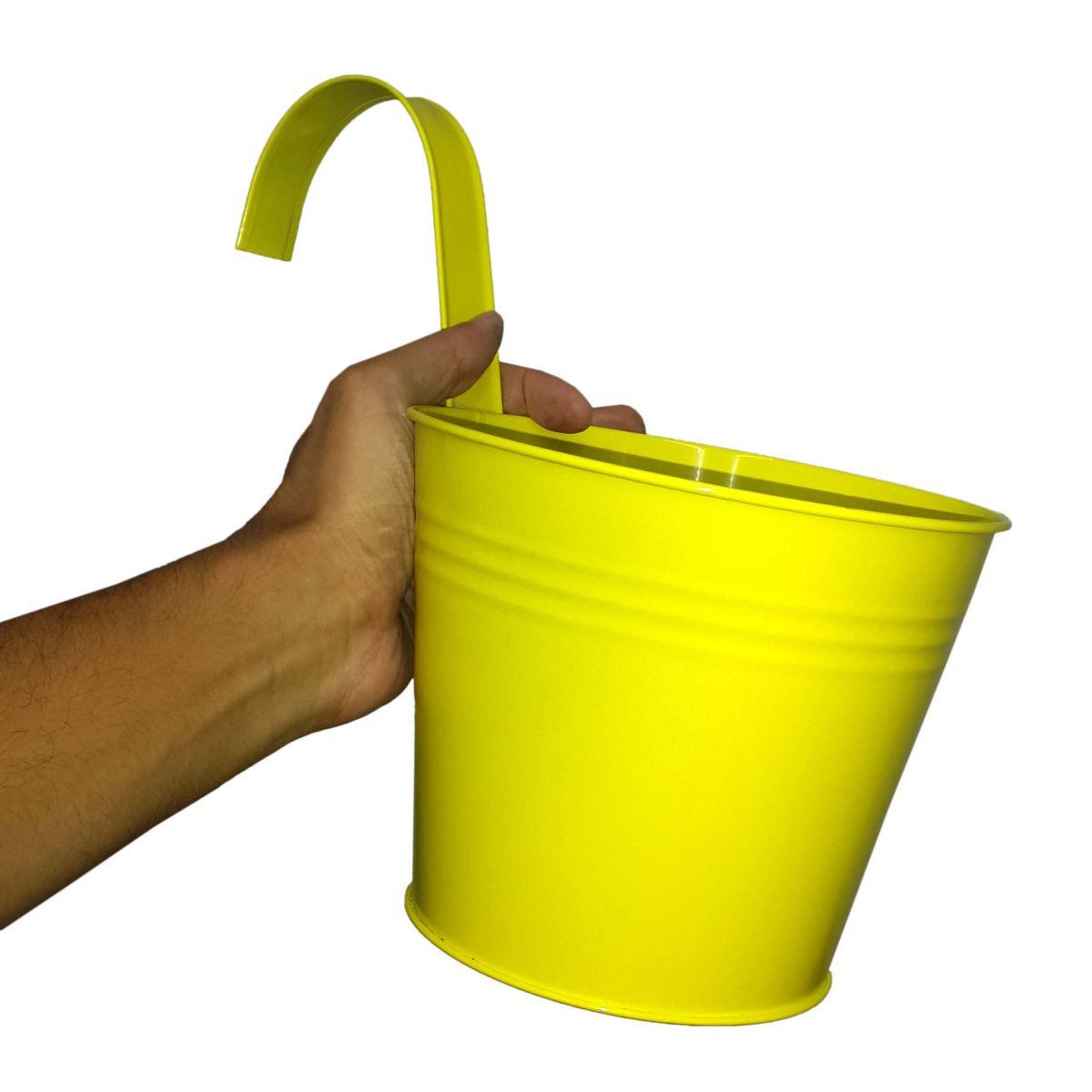 Conjunto Com 2 Cachepot De Metal Para Jardim Suspenso Vertical Grande Amarelo (cachepo-3)