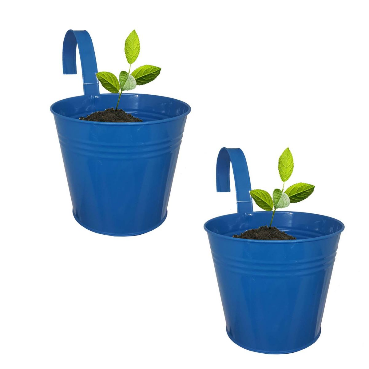 Conjunto Com 2 Cachepot De Metal Para Jardim Suspenso Vertical Grande Azul (cachepo-3 grande)