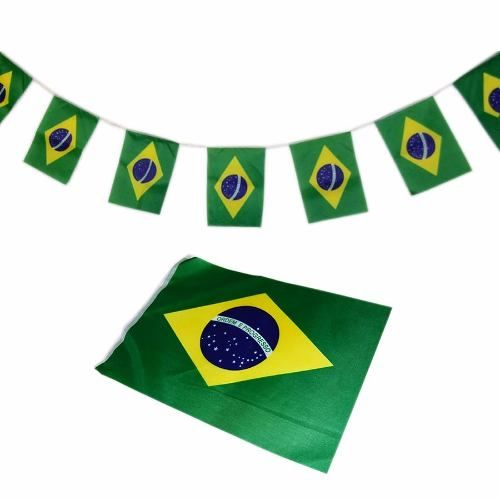 Conjunto de 12 Unidades com 20 Bandeiras Tecido Bandeirinha Brasil Jogo Copa  do Mundo (BSL 8dc0d613444eb