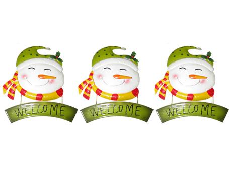 Conjunto Face Boneco De Neve Natal Decoracao Natalino Kit Com 3 Unid (NA-17 BN)