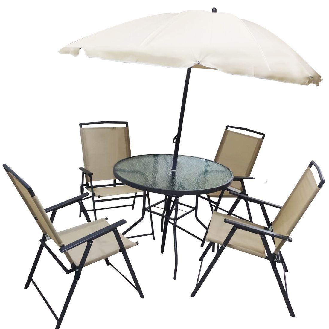 Conjunto Mesa Cadeira Guarda Sol Jardim Piscina Deck Varanda Ombrelone Lazer