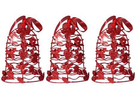 Conjunto Mini Sino de Natal Vermelho Decoracao Natalino Kit com 3 Unid (NA-12  Vermelho)