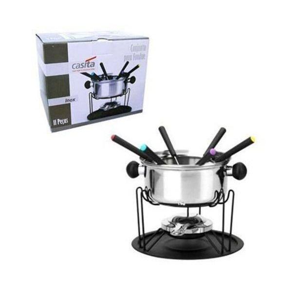 Conjunto Para Fondue Garfos Queijo Chocolate Inox 11 Pçs 6 (CA12136)