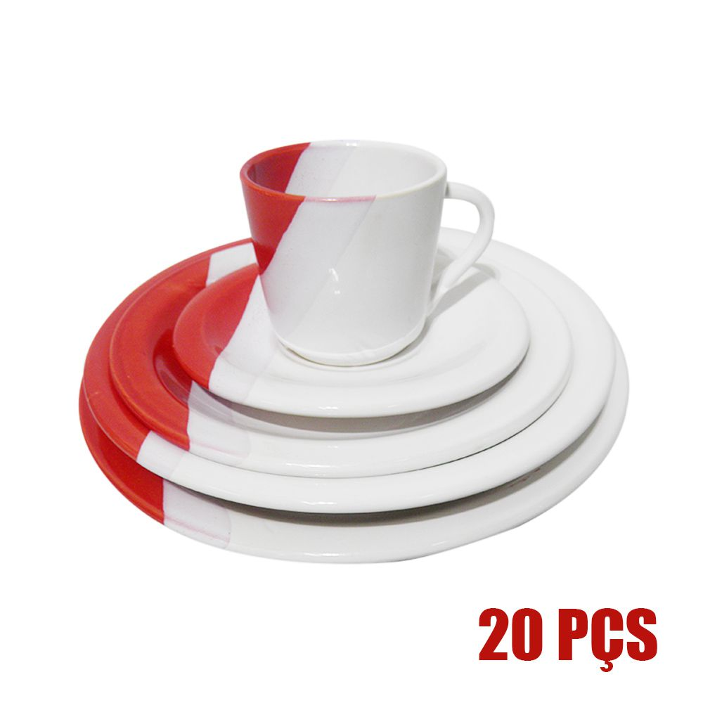Conjunto Pratos 20 Pçs Cozinha  Jantar Ceramica Xicara Vermelho