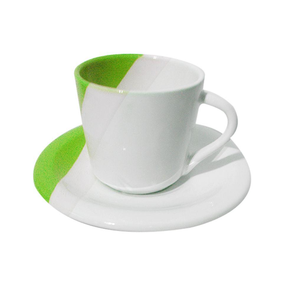 Conjunto Pratos 20 Pçs Cozinha Jantar Pires Ceramica Xicara Verde