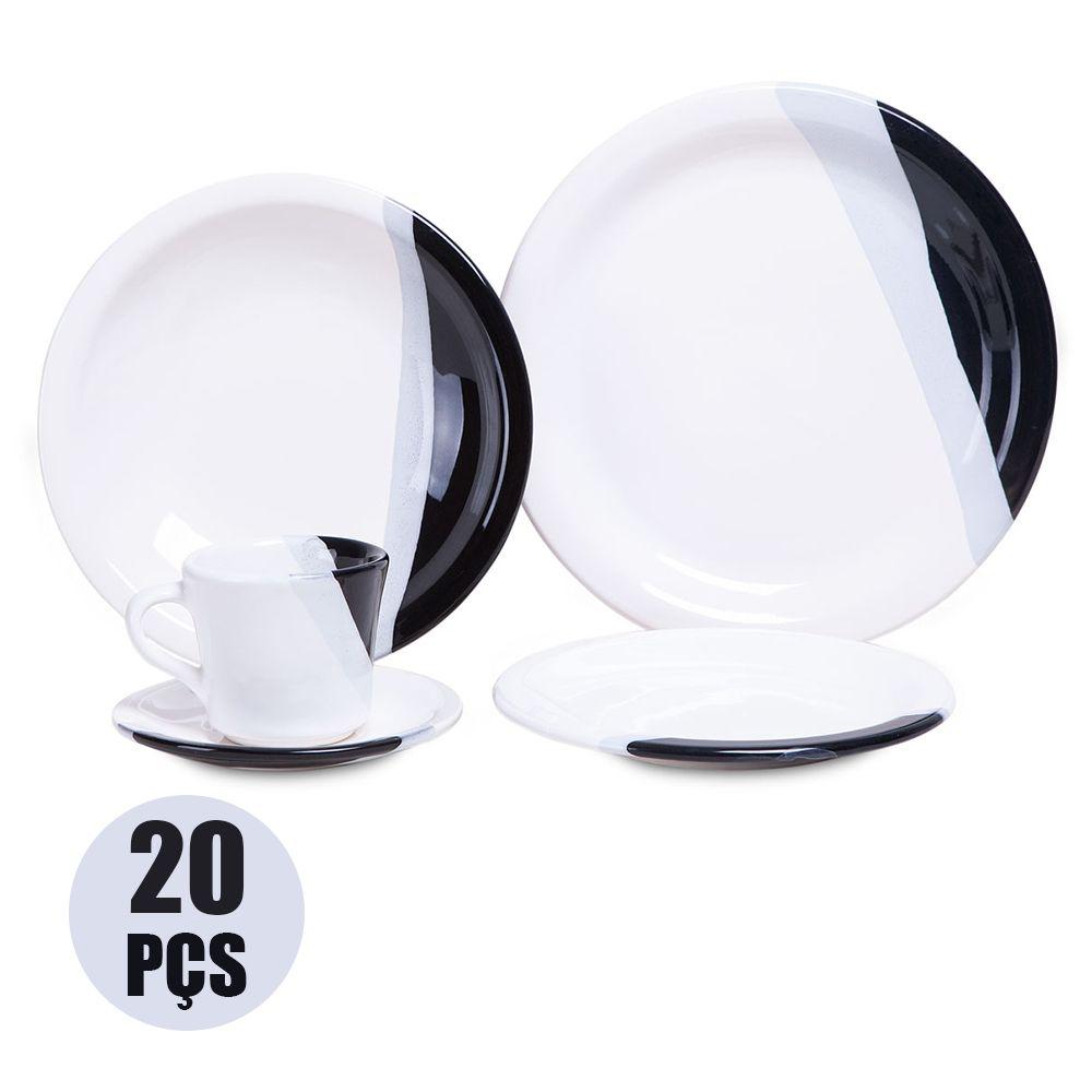 Conjunto Pratos Jantar 20 Peças Cozinha Ceramica Xicara Detalhes Preto