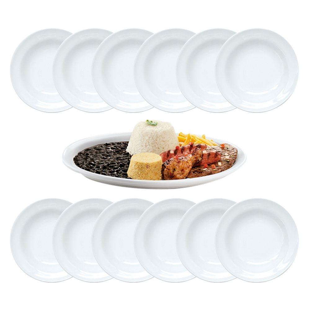 Conjunto Pratos Rasos 25cm Ceramica Restaurante Almoço Cozinha Self Service 12 Un