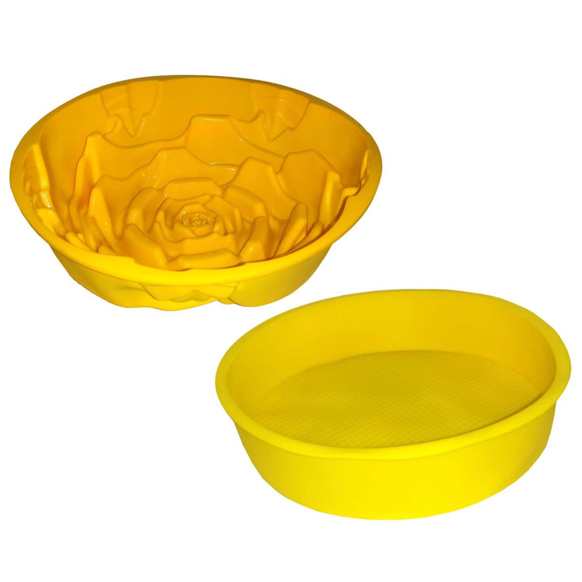 Conjunto Silicone Cozinha 2 Forma Doce Torta Flor Redonda Amarela (kit2-sili-6-11)