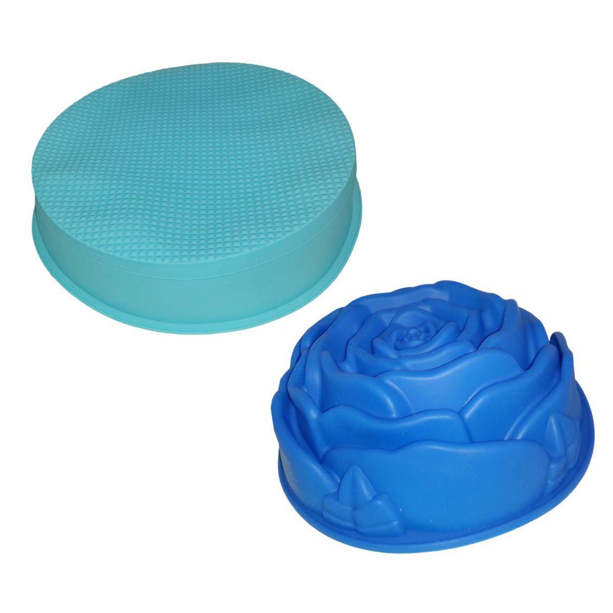 Conjunto Silicone Cozinha 2 Forma Doce Torta Flor Redonda Azul (kit2-sili-6-11)