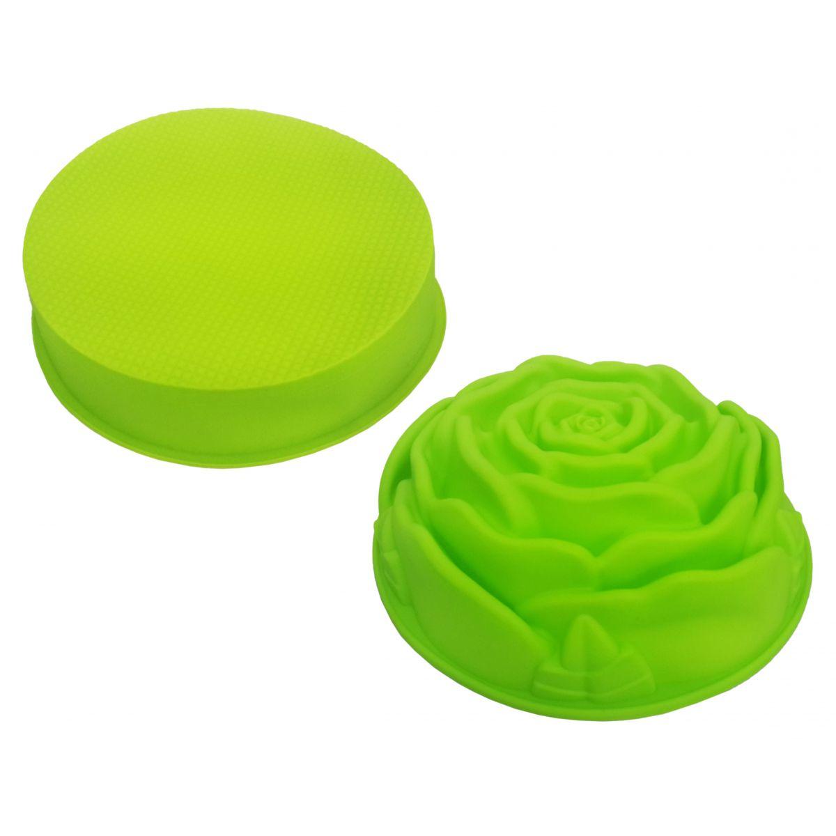 Conjunto Silicone Cozinha 2 Forma Doce Torta Flor Redonda Verde (kit2-sili-6-11)