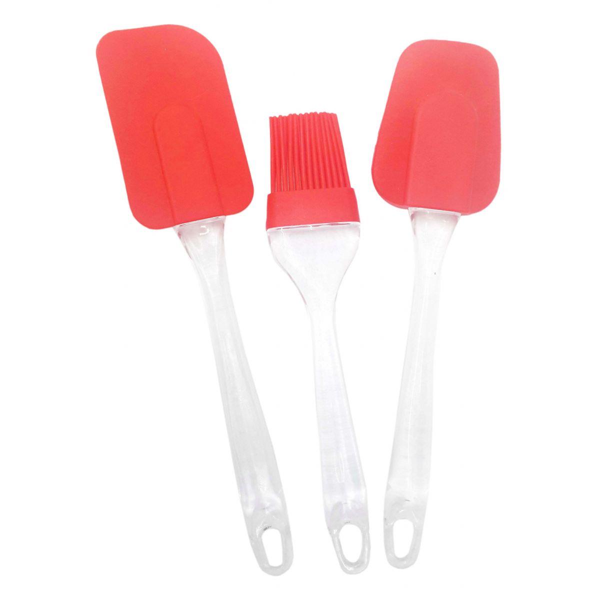 Conjunto Silicone Utensilios Cozinha Espatula Colher e Pincel Vermelho (kit1-sili-1-2-3)