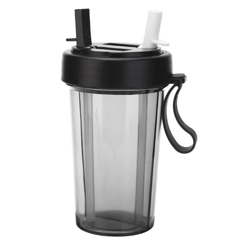 Copo 2 em 1 bebida quente  frio de 2 canudo duplo compartimento  com tampa garrafa preto