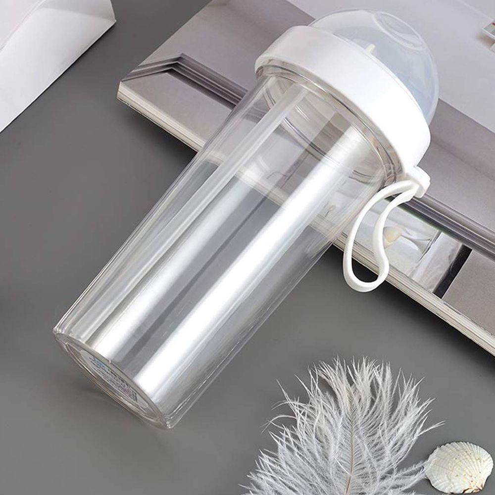 Copo de 2 canudo duplo compartimento com tampa garrafa bebida quente fria  2 em 1 Branco