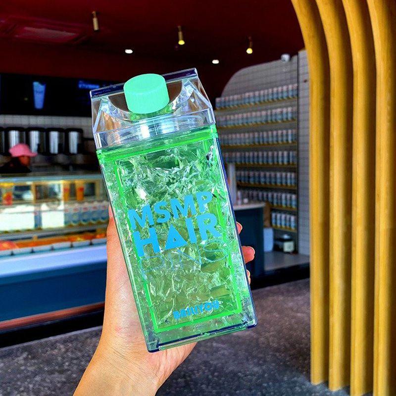Copo Gel Squeeze Garrafa congelante canudo bico Verde 400ml
