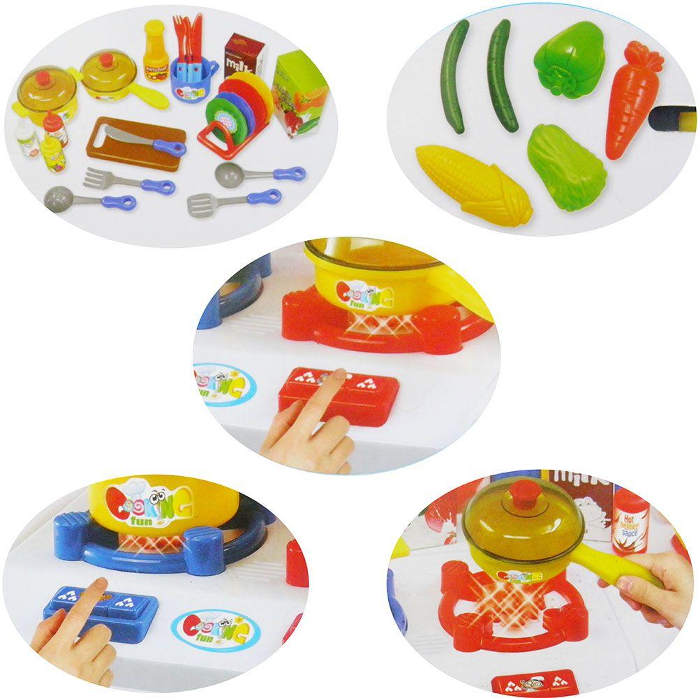 Cozinha Infantil Luz Led Som Completa Panelas Fast Food Brinquedo