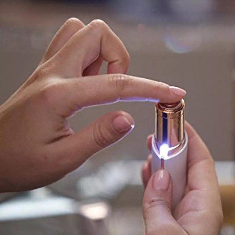 Depilador Eletrico Feminino Batom Recarregavel Bateria Depilacao Luz USB