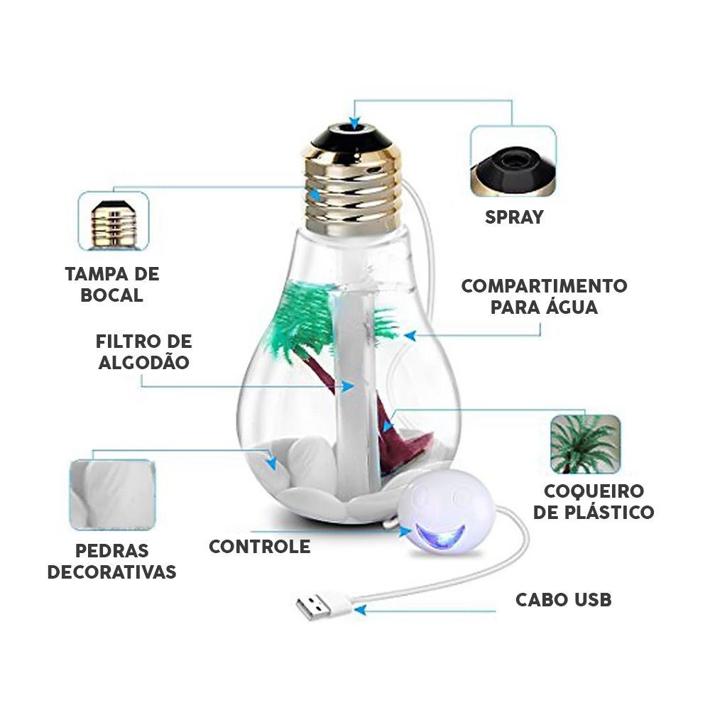 Umidificador Difusor De Ar Ultrassonico Aromatizador Lampada Led Purifica