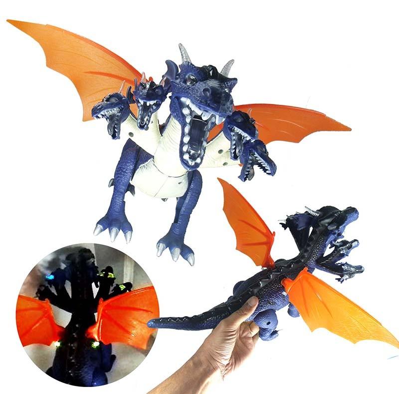 Dinossauro de Brinquedo 5 Cabeças Emite Luz Som Dragão Anda Mexe Asa e Cauda Azul (DMT5135)