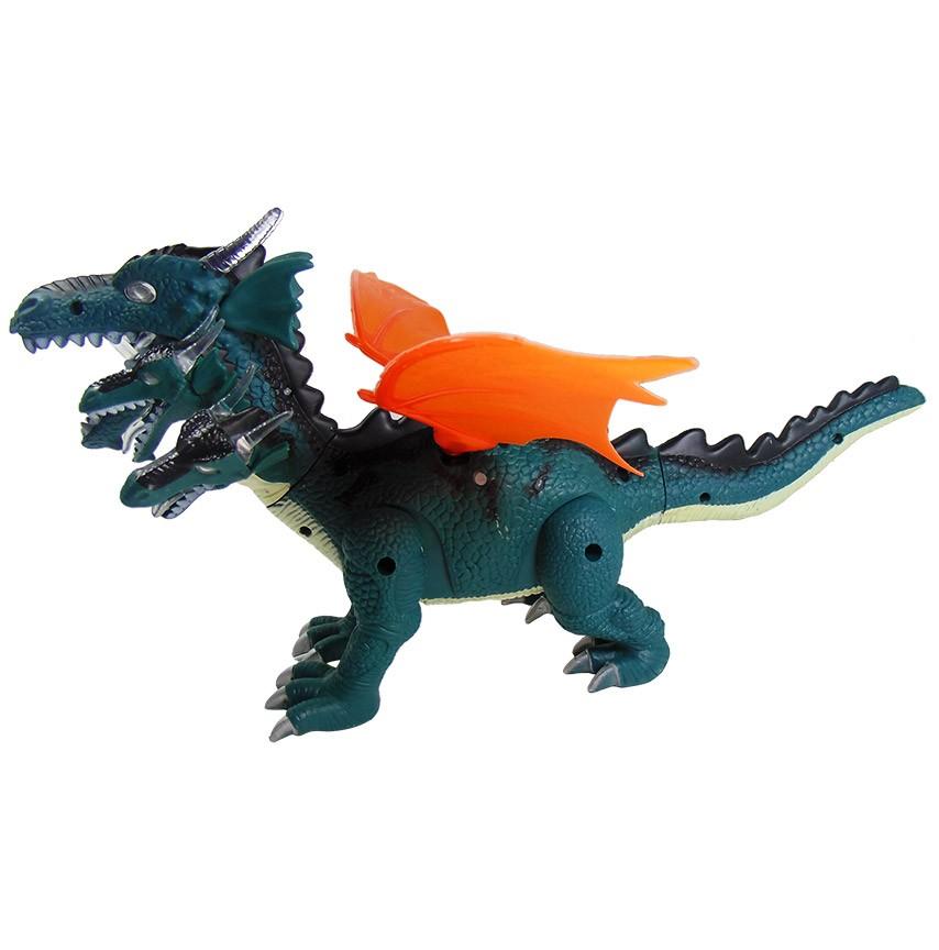 Dinossauro Dragão de 5 Cabeças Emite Som Luz Anda Mexe Asa e Cauda Verde
