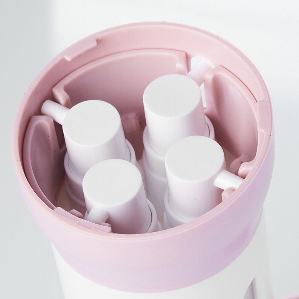 Dispenser Garrafa 4 Em 1 Loção Portátil Shampoo Gel Cremes Rosa Viagens