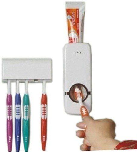 Dispenser Pasta De Dente Automatico E Porta Escovas Suporte Banheiro Cor Branca (888210) NA*
