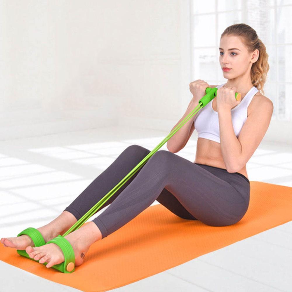 Elastico Extensor Academia Casa exercicio 4 tubos Faixa de Resistencia abdominal Tonificação