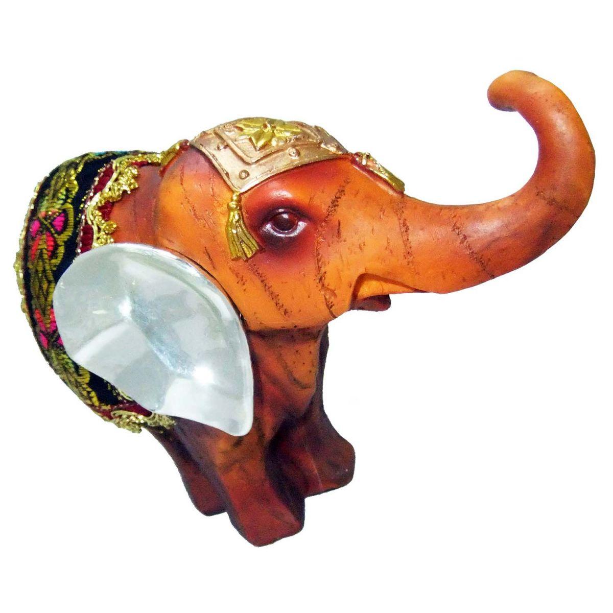 Elefante Indiano Estatueta Enfeite Laranja Tapete Vinho (5024)